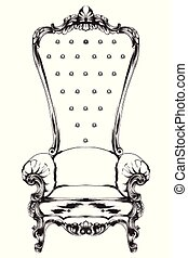 Baroque armchair Vector. Royal style decotations. Victorian ornaments engraved. Imperial furniture decor illustrations line arts