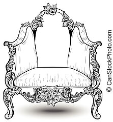 Baroque armchair with luxurious ornaments. Vector French Luxury rich intricate structure. Victorian Royal Style decors