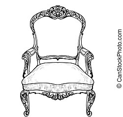 Baroque armchair with luxurious ornaments. Vector French Luxury rich intricate structure. Victorian Royal Style decor
