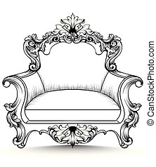Baroque armchair with luxurious ornaments. Vector French rich intricate structure. Victorian Royal Style decors