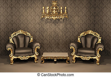 Baroque Armchairs with gold frame in old interior. Luxurious furniture. Deluxe apartment