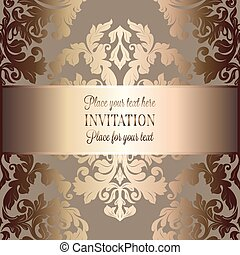Baroque background with antique, luxury beige, brown and gold vintage frame, victorian banner, damask floral wallpaper ornaments, invitation card, baroque style booklet, fashion pattern