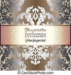 Baroque background with antique, luxury silver and gold vintage frame, victorian banner, damask floral wallpaper ornaments, invitation card, baroque style booklet, fashion pattern