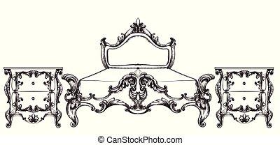 Vintage Barok Bankje.Baroque Luxury Sofa Rich Imperial Style Furniture Vector