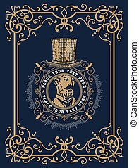 Baroque card with gentleman illustration. Vector layered