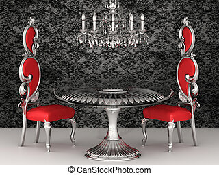 baroque, chairs., royal, wallpaper., interior.