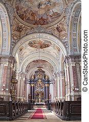 Baroque Church interior in Jaszbereny Hungary