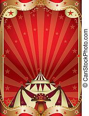 baroque, cirque, cadre, rouges
