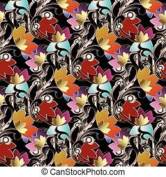 Baroque damask seamless pattern.