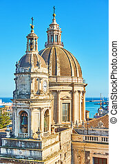 Saint Agatha Cathedral in Catania - Baroque domes of Saint...
