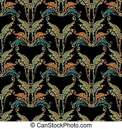 Baroque embroidery seamless pattern.