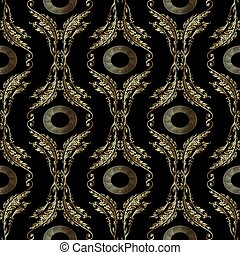 Baroque embroidery seamless pattern. Greek mandala