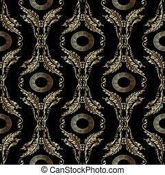 Baroque embroidery seamless pattern. Greek mandala