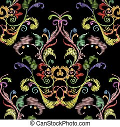 Baroque embroidery vector seamless pattern.