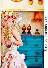 baroque fashion blond woman drinking red wine