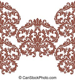 Baroque Floral Damask ornament pattern - Vector Baroque...