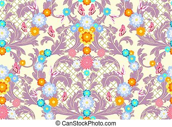 baroque floral pattern with butterflies and flowers. seamless ba