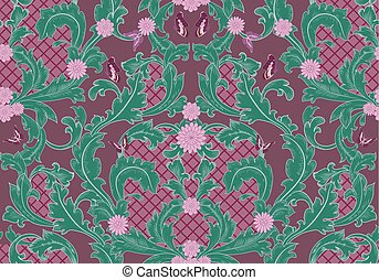 baroque floral pattern with butterflies. seamless background for