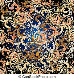 Baroque floral seamless pattern.