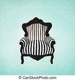 baroque, fond, fauteuil