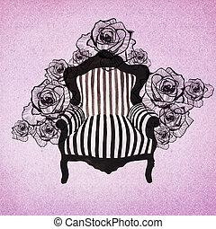baroque, fond, fauteuil
