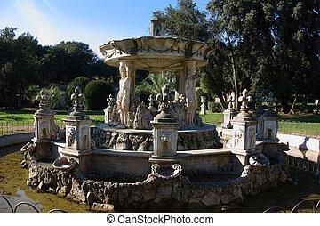 Baroque Fountain in Villa Pamphili, Rome