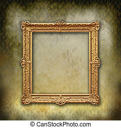 Grunge stylized faded Victorian wallpaper with golden vintage empty frame