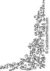 Baroque Frozen vignette 9 Eau-forte black-and-white decorative background pattern vector illustration EPS-8