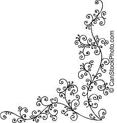 Baroque Frozen vignette 17 Eau-forte black-and-white decorative background pattern vector illustration EPS-8
