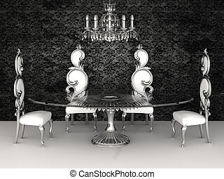 Baroque furniture. Chairs with round table in dinner interior.