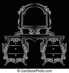 Baroque furniture Dressing Table and mirror frame - Vector...