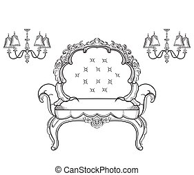 Baroque furniture rich armchair. Handmade ornamented decor. Vector illustrations