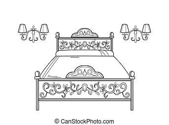 Baroque furniture rich armchair. Handmade ornamented decor. Vector illustration
