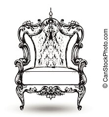 Baroque furniture rich armchair. Royal style decotations. Victorian ornaments engraved. Imperial furniture decor. Vector illustrations line art