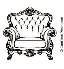 Baroque furniture rich armchair. Royal style decotations. Victorian ornaments engraved. Imperial furniture decor. Vector illustrations line arts