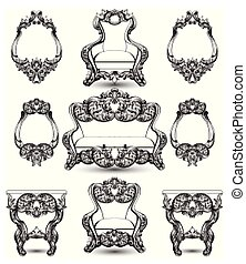 Baroque furniture rich set. Royal Ornamented collection Vector illustrations