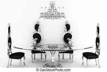 Baroque furniture. Royal chairs with round table