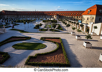 Baroque Garden of Bratislava Castle at Sunset