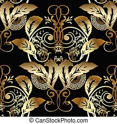 Baroque gold 3d seamless pattern