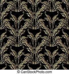 Baroque gold embroidery seamless pattern.