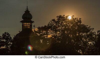 Baroque Hanavsky pavilion in Prague at sunset, Czech...
