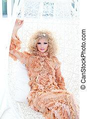 Baroque haute couture woman portrait