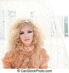 Baroque haute couture woman portrait with vampire...
