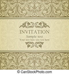 Baroque invitation, beige - Baroque invitation card in old-...