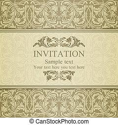 Baroque invitation, beige - Baroque invitation card in old-...