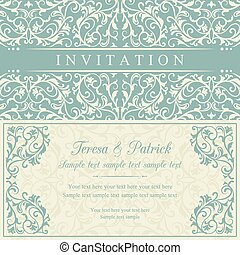 Baroque invitation, blue and beige - Antique baroque...