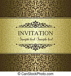 Baroque invitation card in old-fashioned style, gold and brown