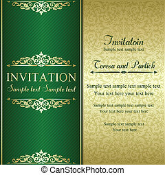 Baroque invitation card in old-fashioned style, gold and green
