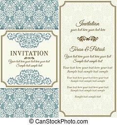 Baroque invitation, gold, blue and beige - Antique baroque...