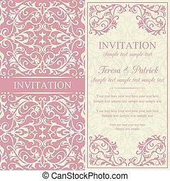 Baroque invitation, pink and beige - Antique baroque...